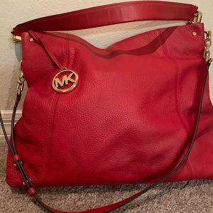 Red Leather Michael Kors Bag with wallet